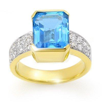 Genuine 7.26 ctw Blue Topaz & Diamond Ring 14K Gold