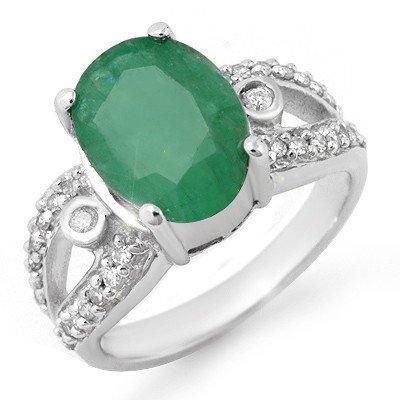Genuine 5.25 ctw Emerald & Diamond Ring 10K White Gold