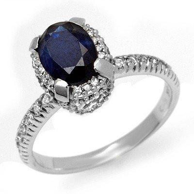 Genuine 2.20 ctw Sapphire & Diamond Ring White Gold