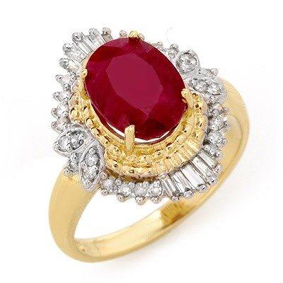 Genuine 3.24 ctw Ruby & Diamond Ring 14K Yellow Gold