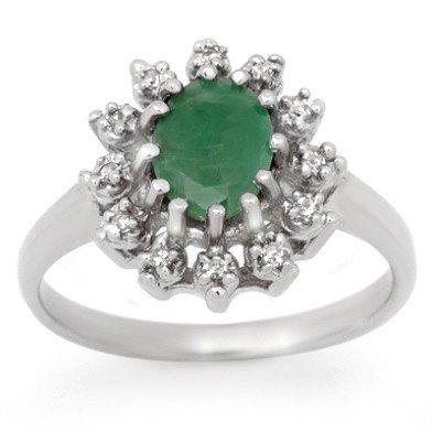 Genuine 1.46 ctw Emerald & Diamond Ring 10K White Gold