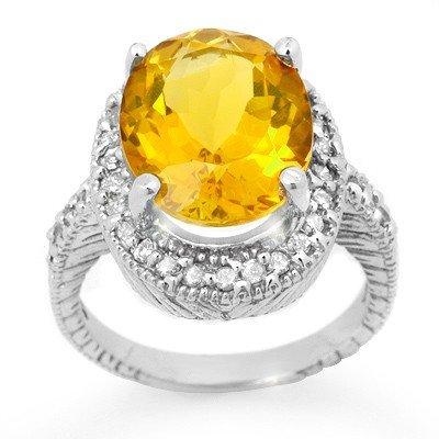 Genuine 6.0 ctw Citrine & Diamond Ring 14K White Gold