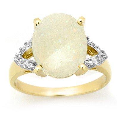 Genuine 2.55 ctw Opal & Diamond Ring 10K Yellow Gold