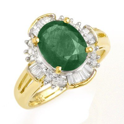 Genuine 3.08 ctw Emerald & Diamond Ring 14K Yellow Gold