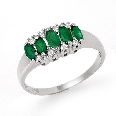 Genuine 0.77 ctw Emerald & Diamond Ring 10K White Gold