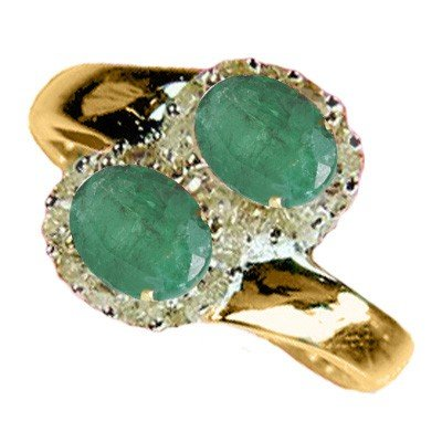 Genuine 1.35 ctw Emerald & Diamond Ring 10K Yellow Gold