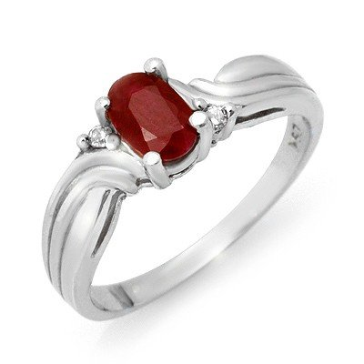 Genuine 0.85 ctw Ruby & Diamond Ring 10K White Gold