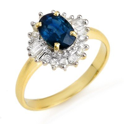 Genuine 1.72 ctw Sapphire & Diamond Ring 10K Yellow Gol