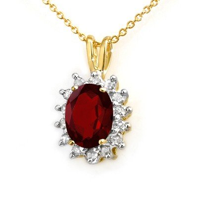 Genuine 1.0 ctw Garnet & Diamond Pendant Yellow Gold