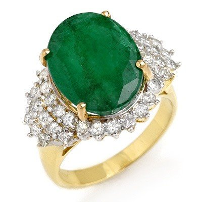 Genuine 7.56 ctw Emerald & Diamond Ring 14K Yellow Gold