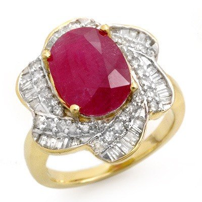 Genuine 6.95 ctw Ruby & Diamond Ring 14K Yellow Gold