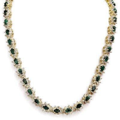 Genuine 22.0 ctw Emerald & Diamond Necklace 14K Gold