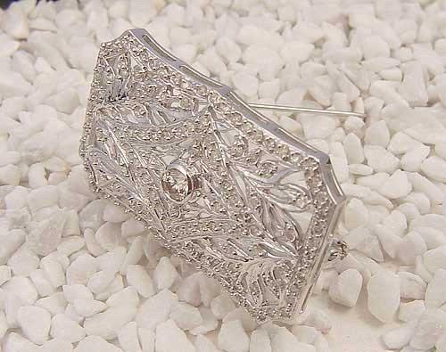 Natural 2.0 ctw Diamond Brooch 14K White Gold