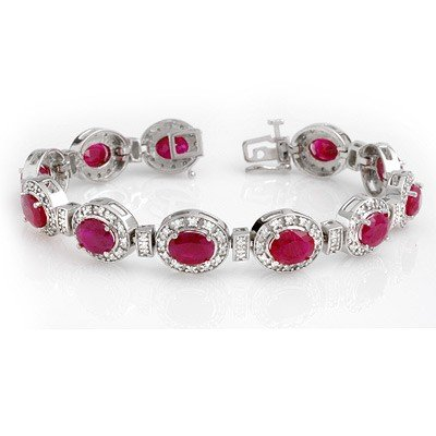 Genuine 16.0 ctw Ruby & Diamond Bracelet 14K White Gold