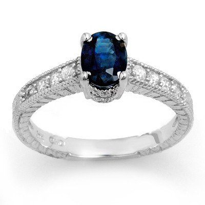 Genuine 1.63 ctw Sapphire & Diamond Ring 14K White Gold