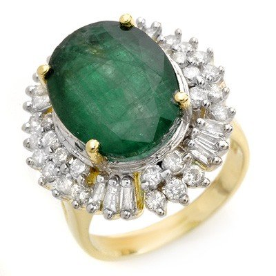 Genuine 11.75ctw Emerald & Diamond Ring 14K Yellow Gold