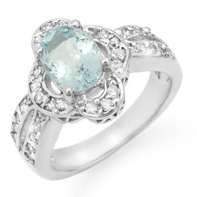Genuine 2.60 ctw Aquamarine & Diamond Ring 14K Gold