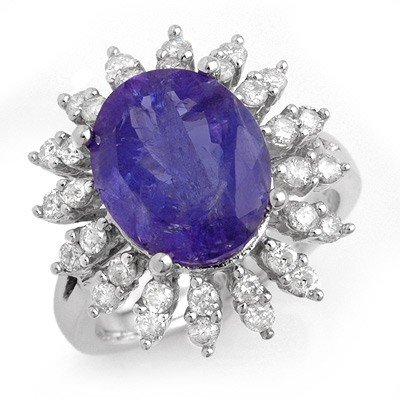 Genuine 7.38ctw Tanzanite & Diamond Ring 14K White Gold