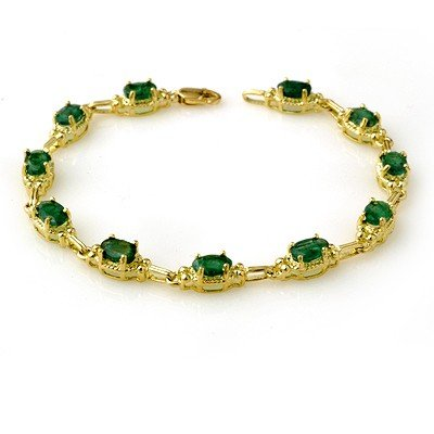Genuine 6.10 ctw Emerald Bracelet 10K Yellow Gold