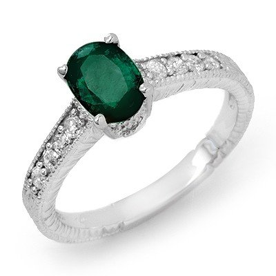 Genuine 1.63 ctw Emerald & Diamond Ring 14K White Gold