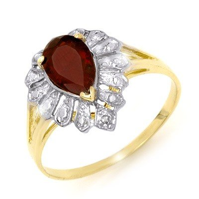 Genuine 1.11 ctw Garnet & Diamond Ring 10K Yellow Gold