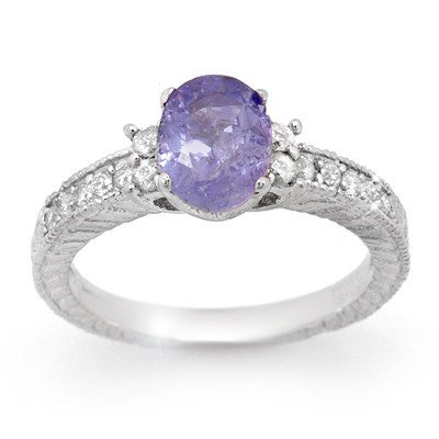Genuine 1.82 ctw Tanzanite & Diamond Ring 14K Gold
