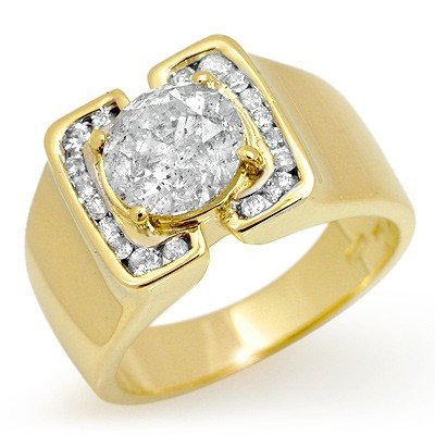 Natural 2.08 ctw Diamond Men's Ring 10K Yellow Gold