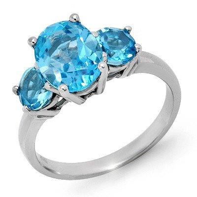 Genuine 3.25 ctw Blue Topaz Ring 10K White Gold