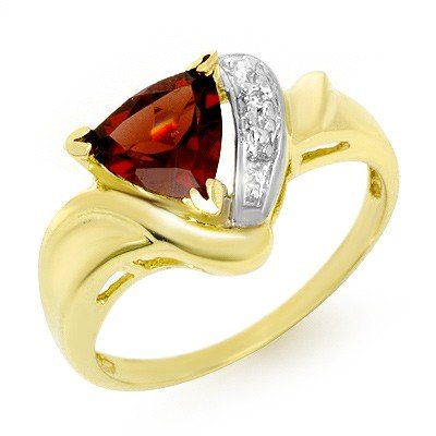 Genuine 1.28 ctw Garnet & Diamond Ring 10K Yellow Gold