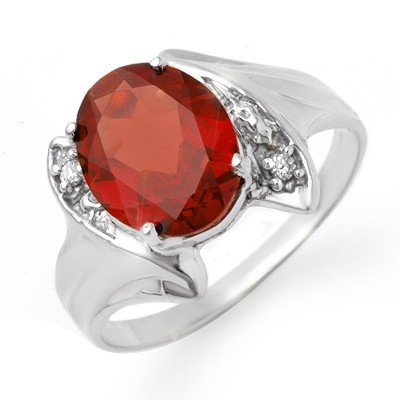 Genuine 1.64 ctw Garnet & Diamond Ring 10K White Gold