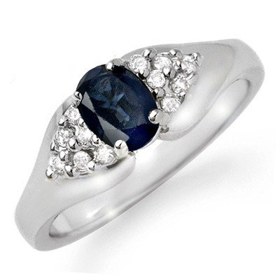 Genuine 0.90 ctw Sapphire & Diamond Ring 10K White Gold