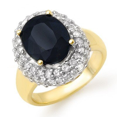 Genuine 5.0 ctw Sapphire & Diamond Ring 14K Yellow Gold