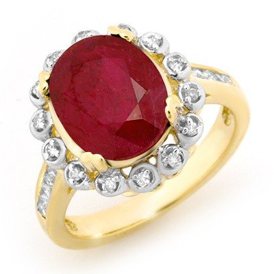 Genuine 5.83 ctw Ruby & Diamond Ring 10K Yellow Gold