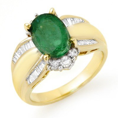 Genuine 2.87 ctw Emerald & Diamond Ring 14K Yellow Gold