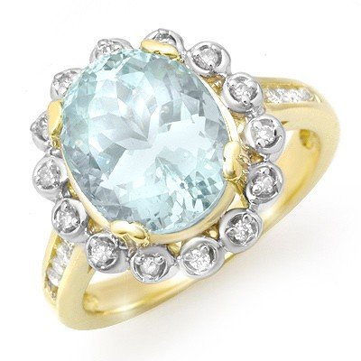 Genuine 5.33 ctw Aquamarine & Diamond Ring 10K Gold