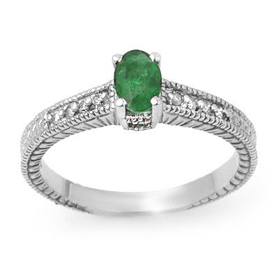 Genuine 0.76 ctw Emerald & Diamond Ring 14K White Gold