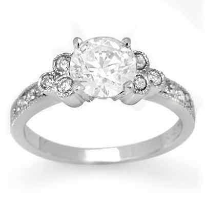 Natural 0.86 ctw Diamond Ring 14K White Gold