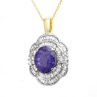 Genuine 5.6 ctw Tanzanite & Diamond Pendant 14k Gold