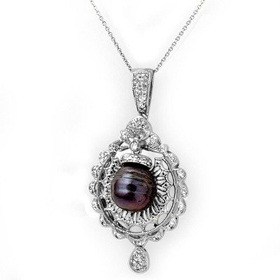 Natural 0.33 ctw Black Pearl & Diamond Pendant 14K Gold