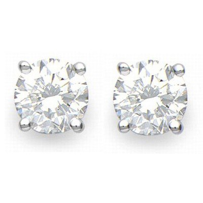 Natural 1.0 ctw Diamond Stud Earrings 14K White Gold