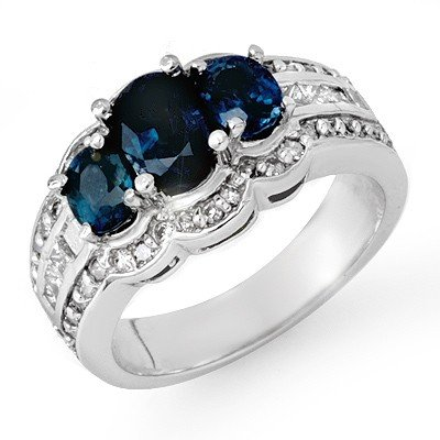 Genuine 3.5 ctw Sapphire & Diamond Ring 14K White Gold