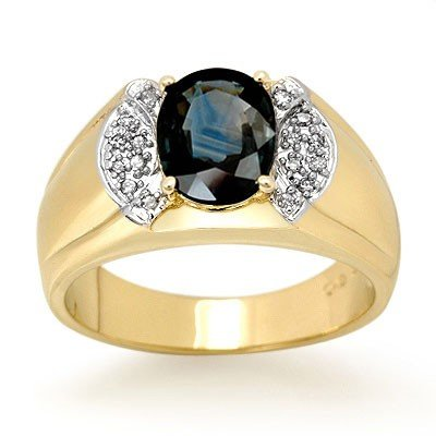 Genuine 2 ctw Sapphire & Diamond Ring 10k Gold