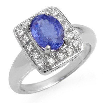 Genuine 2.65ct Tanzanite & Diamond Ring 10K White Gold