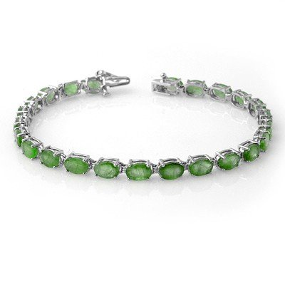 Genuine 10.5 ctw Emerald Bracelet 10K White Gold