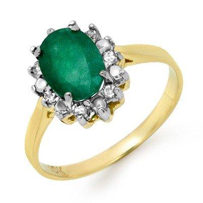 Genuine 1.27 ctw Emerald & Diamond Ring 10K Yellow Gold
