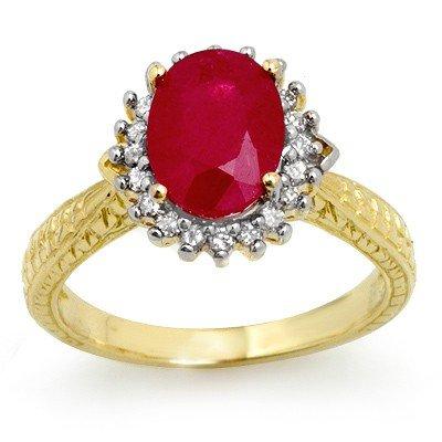 Genuine 2.65 ctw Ruby & Diamond Ring 10K Yellow Gold