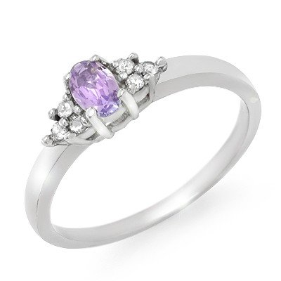 Genuine 0.31ctw Tanzanite & Diamond Ring 10K White Gold