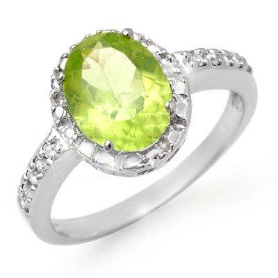 Genuine 2.10 ctw Peridot & Diamond Ring 10K White Gold