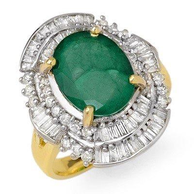 Genuine 5.95 ctw Emerald & Diamond Ring 14K Yellow Gold