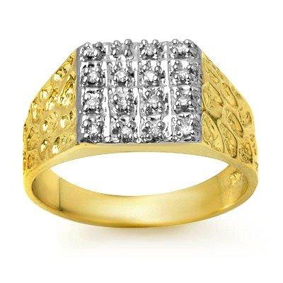 Natural 0.25 ctw Diamond Men's Ring 10K Yellow Gold